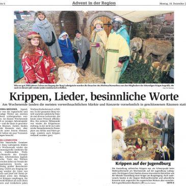 Pressebericht vom verregneten, aber sehr schönen Adventsmarkt auf Burg Ludwigstein (HNA Witzenhäuser Allgemeine 10.12.2018)