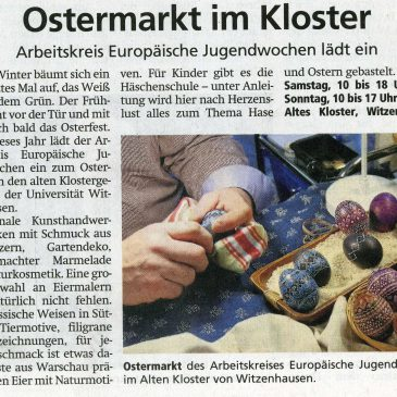 """""""Ostermarkt im Kloster"""" Werra-Rundschau Eschwege, 25th of March, 2019"""