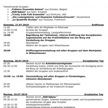 Program of the 61st European Youthweek at Burg Ludwigstein