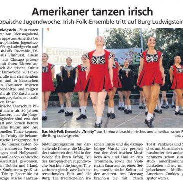 """""""Amerikaner tanzen irisch"""" Irish-Folk Ensemble """"Trinity"""" (HNA Witzenhäuser Allgemeine 1.8.2019)"""