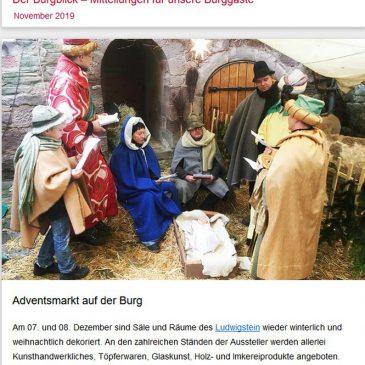 Burgblick 11/2019: 35. Adventsmarkt am 7.+8.12.2019