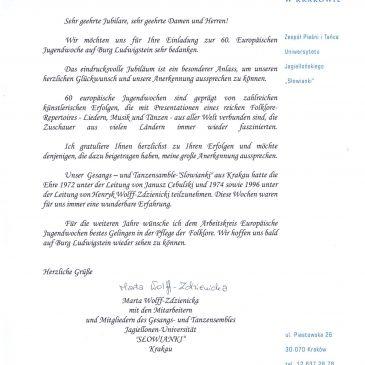 Grußworte der Universität Krakau und des Landrats des Werra-Meißner-Kreises zur 60. Eurowoche