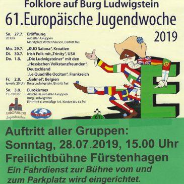 61.Eurowoche 2019: Auftritt aller Gruppen in Fürstenhagen am 28.07.2019 15 Uhr