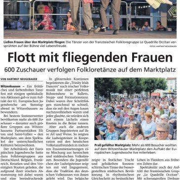 """""""Flott mit fliegenden Frauen"""" (HNA Witzenhäuser Allgemeine 29.07.2019)"""