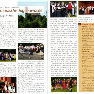 Pressevorschau: 61. Europäische Jugendwoche (Momentmagazin Bad Langensalza 07/2019)