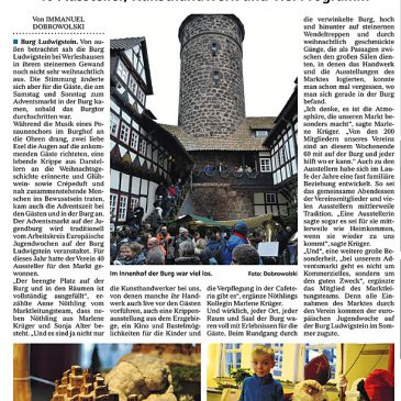 Advent auf Burg Ludwigstein: Guter Bericht von Immanuel Dobrowolski Im MARKTSPIEGEL Witzenhausen vom 11.12.2019